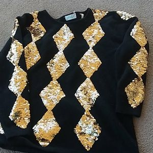 LORD & TAYLOR VINTAGE SEQUINED LONG SLEEVE SWEATER